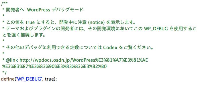 Wordpress debugsetting