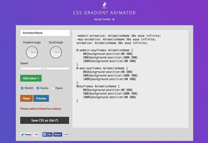 CSS Gradient Animator