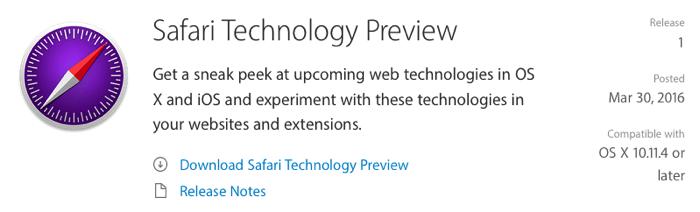 Apple、Web開発者向けに「Safariテクノロジープレビュー」を提供開始